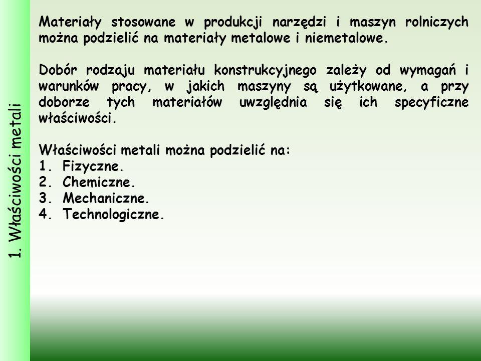 1. Właściwości metali Materiały stosowane w produkcji narzędzi i maszyn rolniczych można podzielić na materiały metalowe i niemetalowe.