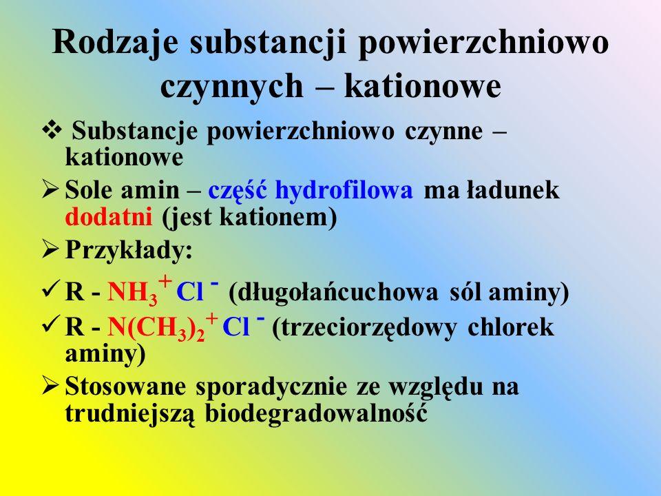 Rodzaje substancji powierzchniowo czynnych – kationowe