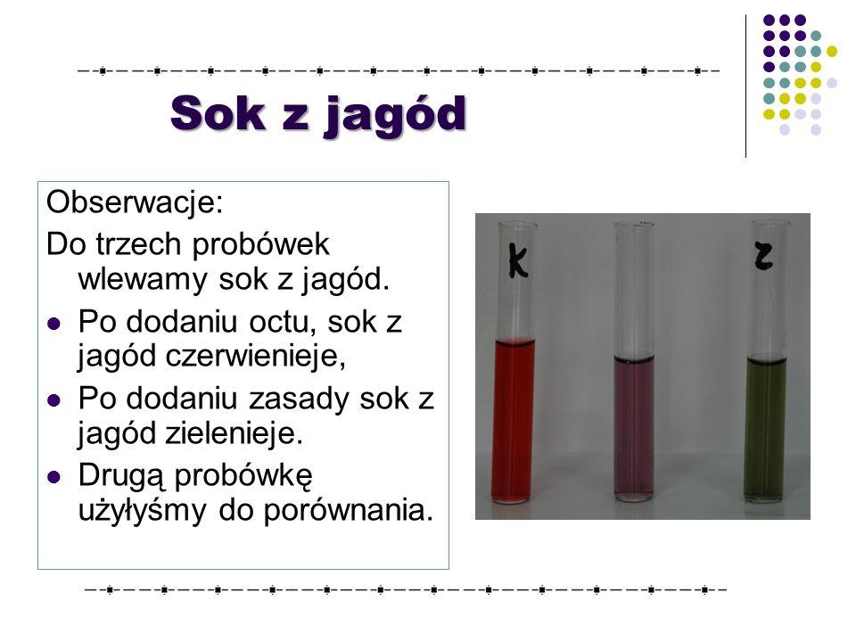Sok z jagód Obserwacje: Do trzech probówek wlewamy sok z jagód.