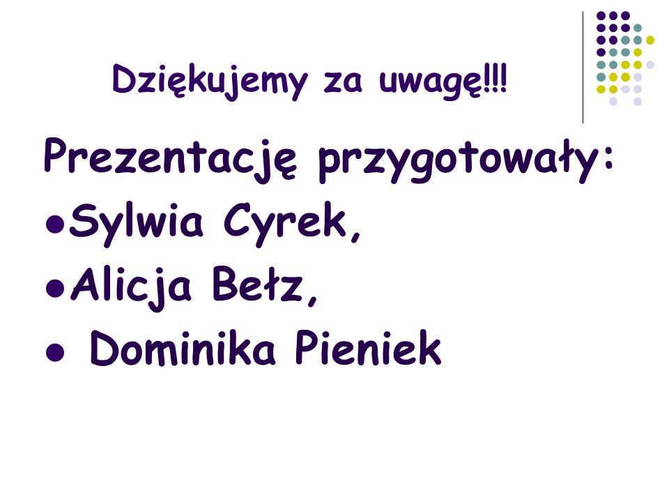 Prezentację przygotowały: Sylwia Cyrek, Alicja Bełz, Dominika Pieniek