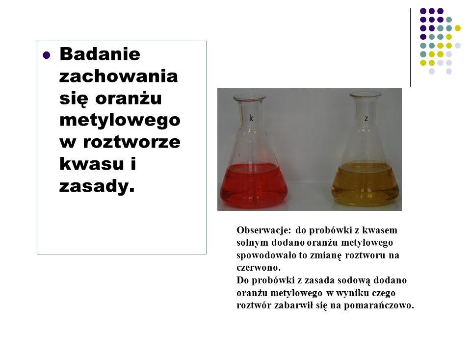 Badanie zachowania się oranżu metylowego w roztworze kwasu i zasady.