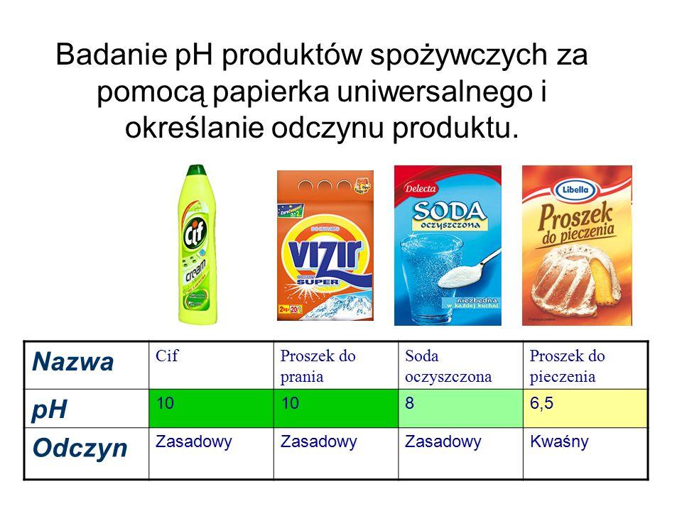 Badanie pH produktów spożywczych za pomocą papierka uniwersalnego i określanie odczynu produktu.
