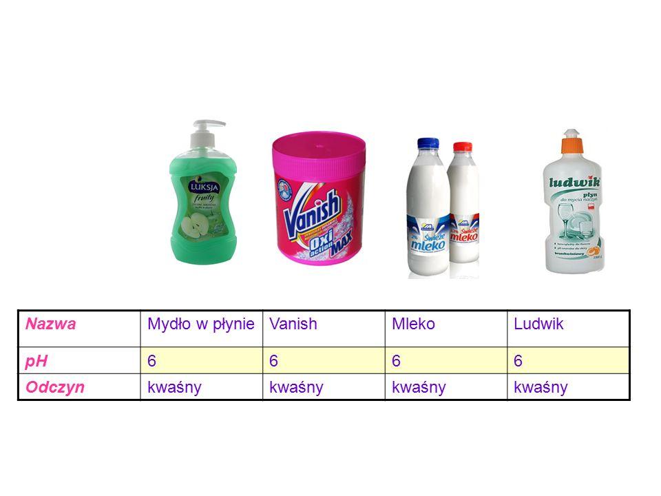 Nazwa Mydło w płynie Vanish Mleko Ludwik pH 6 Odczyn kwaśny