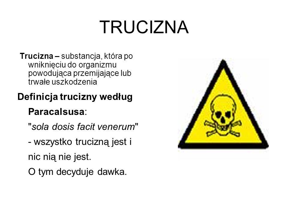 TRUCIZNA Trucizna – substancja, która po wniknięciu do organizmu powodująca przemijające lub trwałe uszkodzenia.