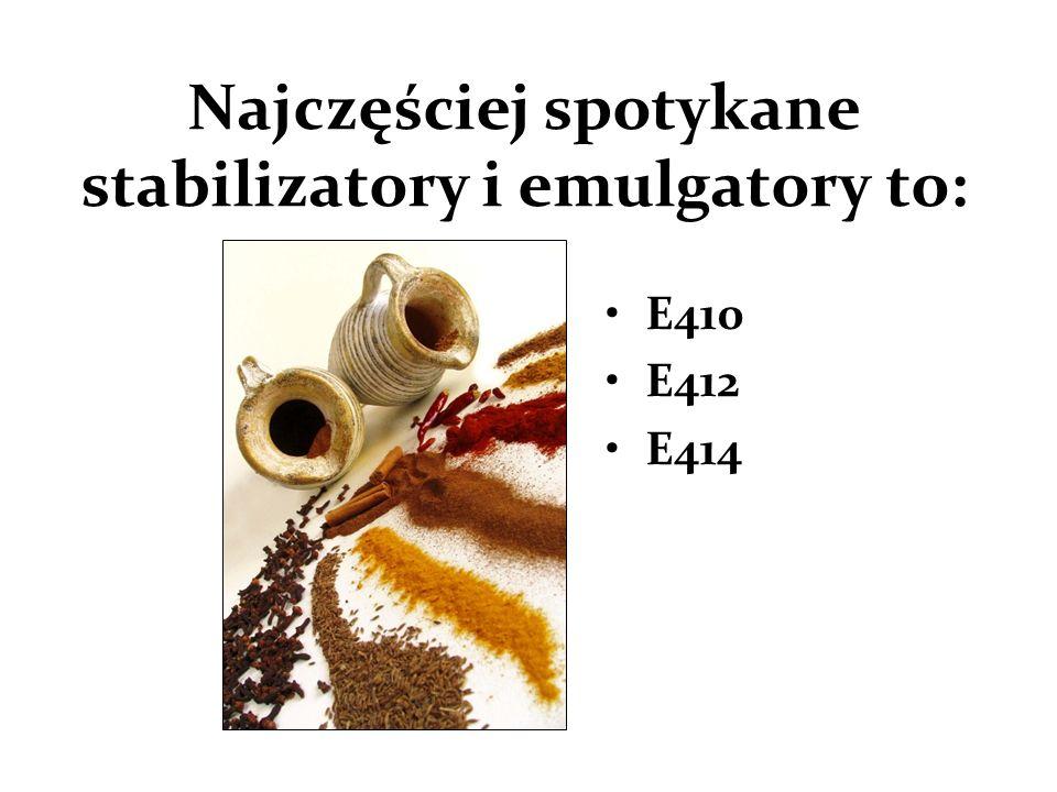 Najczęściej spotykane stabilizatory i emulgatory to: