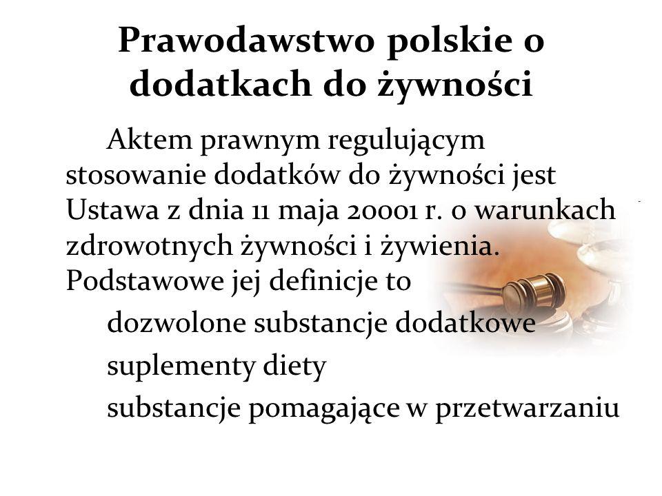 Prawodawstwo polskie o dodatkach do żywności