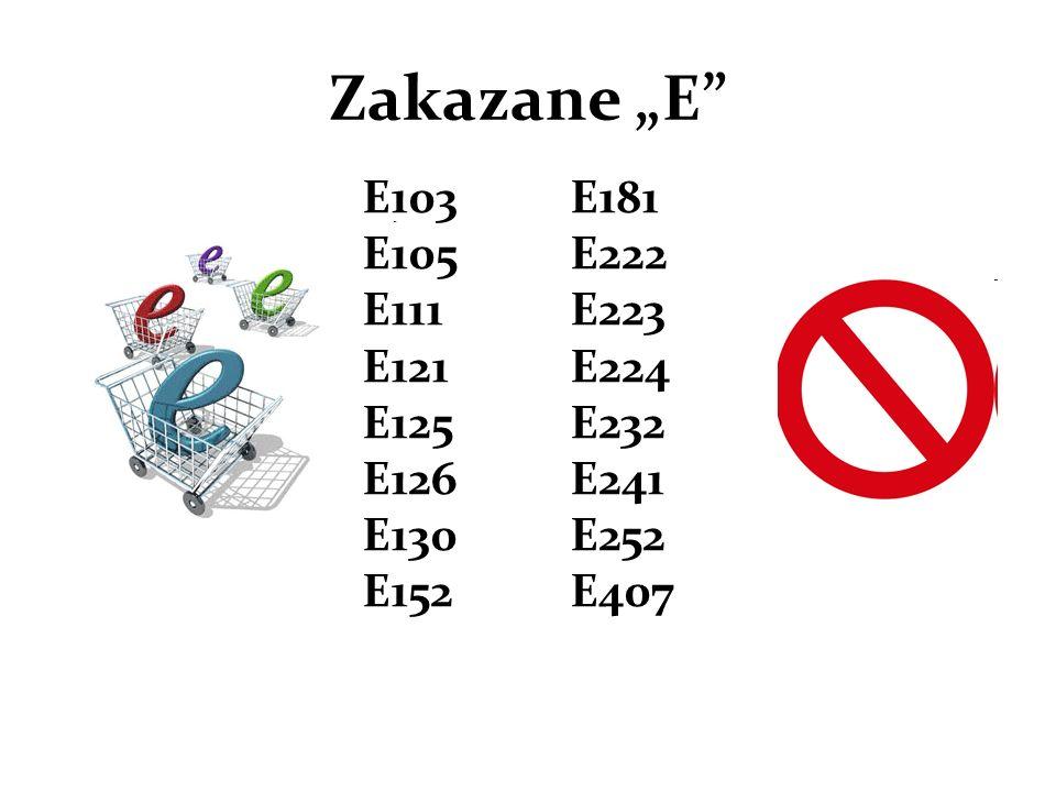 """Zakazane """"E E103 E105 E111 E121 E125 E126 E130 E152."""
