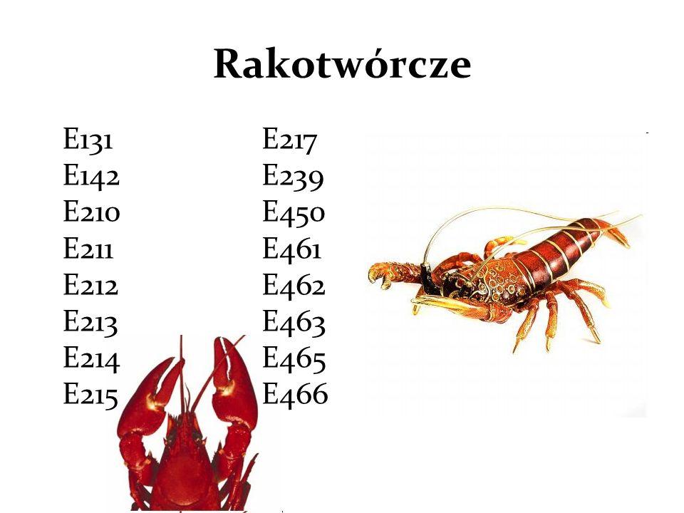 Rakotwórcze E131 E142 E210 E211 E212 E213 E214 E215.