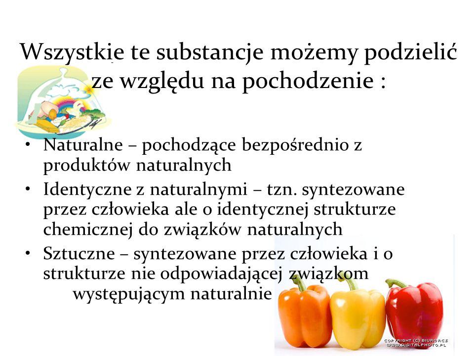Wszystkie te substancje możemy podzielić ze względu na pochodzenie :