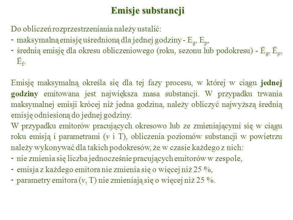 Emisje substancji Do obliczeń rozprzestrzeniania należy ustalić: