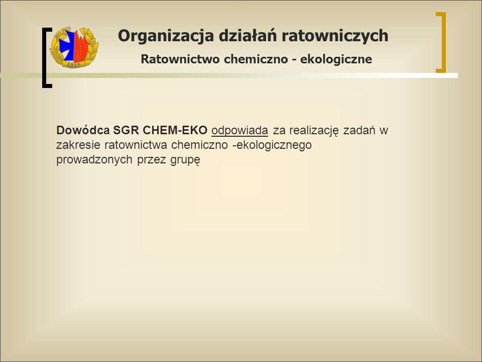 Dowódca SGR CHEM-EKO odpowiada za realizację zadań w zakresie ratownictwa chemiczno -ekologicznego prowadzonych przez grupę