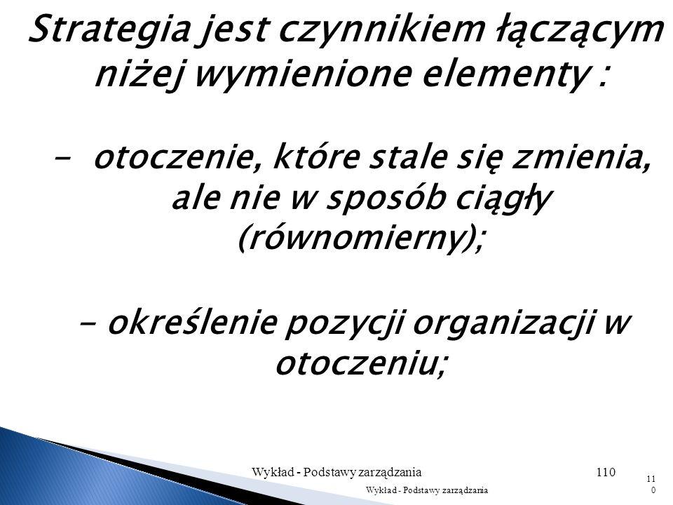 - określenie pozycji organizacji w otoczeniu;