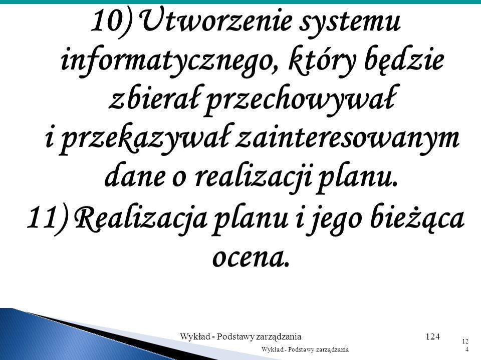 11) Realizacja planu i jego bieżąca ocena.