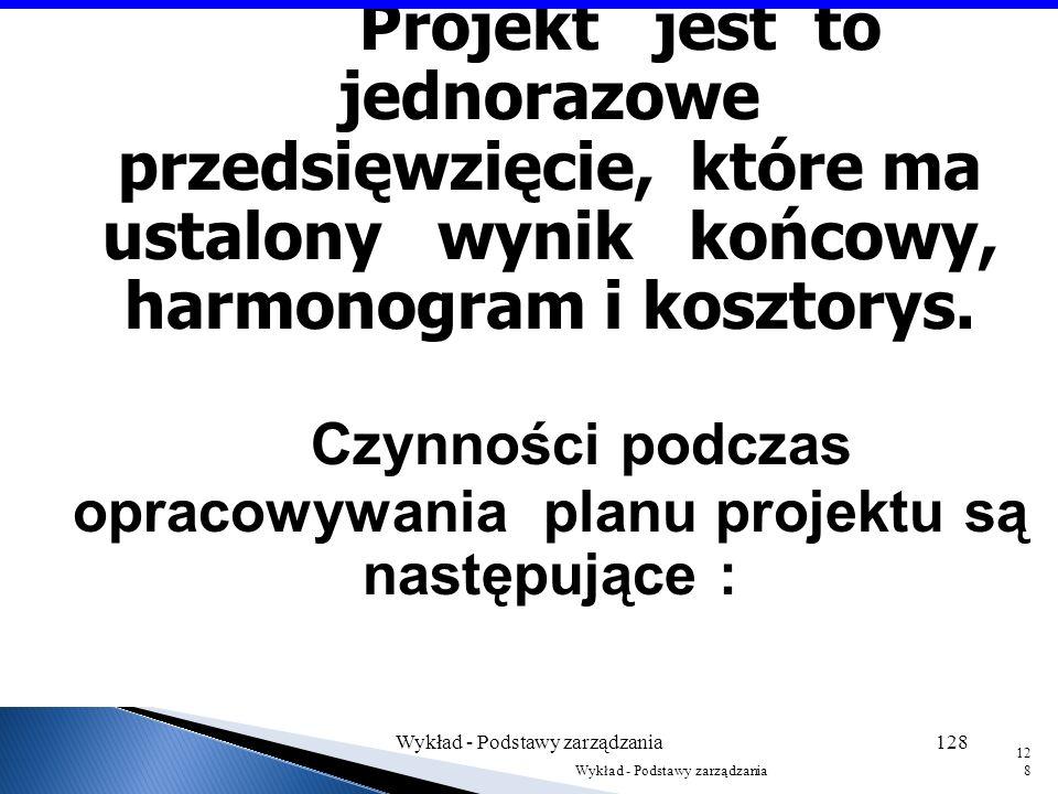 Czynności podczas opracowywania planu projektu są następujące :