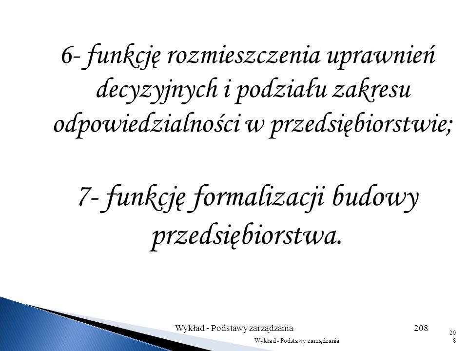 7- funkcję formalizacji budowy przedsiębiorstwa.