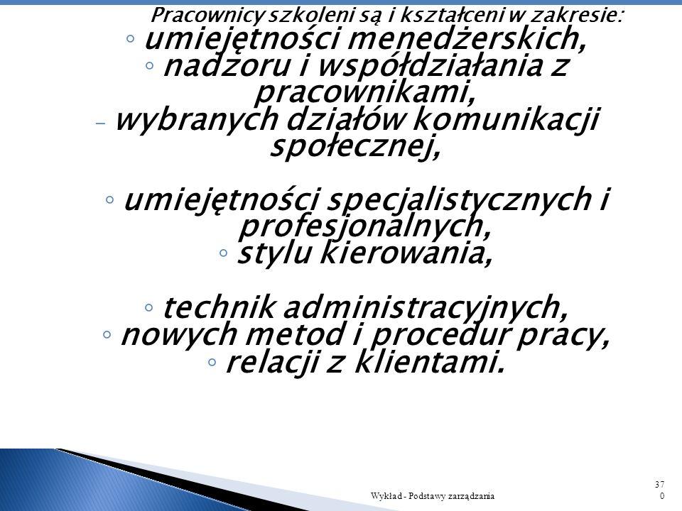 Pracownicy szkoleni są i kształceni w zakresie: