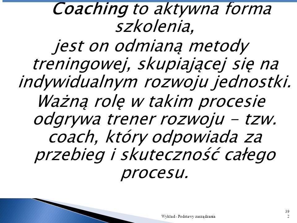 Coaching to aktywna forma szkolenia, jest on odmianą metody treningowej, skupiającej się na indywidualnym rozwoju jednostki. Ważną rolę w takim procesie odgrywa trener rozwoju - tzw. coach, który odpowiada za przebieg i skuteczność całego procesu.