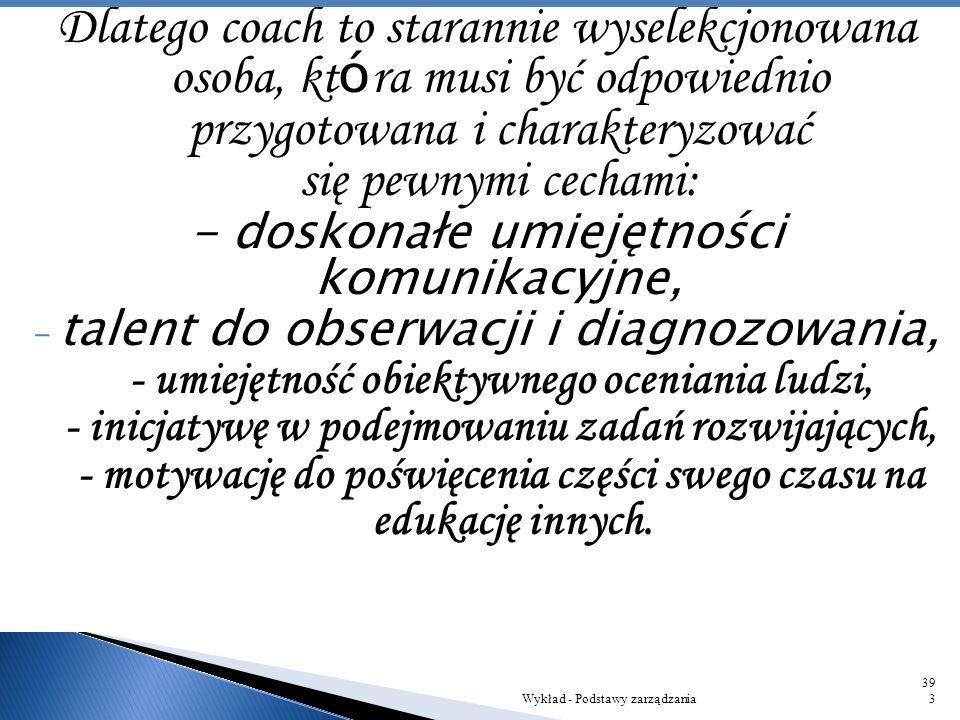 Dlatego coach to starannie wyselekcjonowana osoba, która musi być odpowiednio przygotowana i charakteryzować się pewnymi cechami: