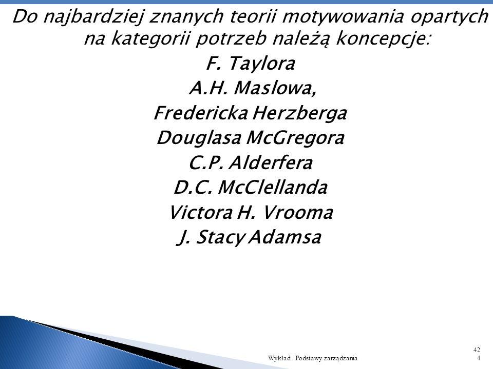 Do najbardziej znanych teorii motywowania opartych na kategorii potrzeb należą koncepcje: F. Taylora A.H. Maslowa, Fredericka Herzberga Douglasa McGregora C.P. Alderfera D.C. McClellanda Victora H. Vrooma J. Stacy Adamsa