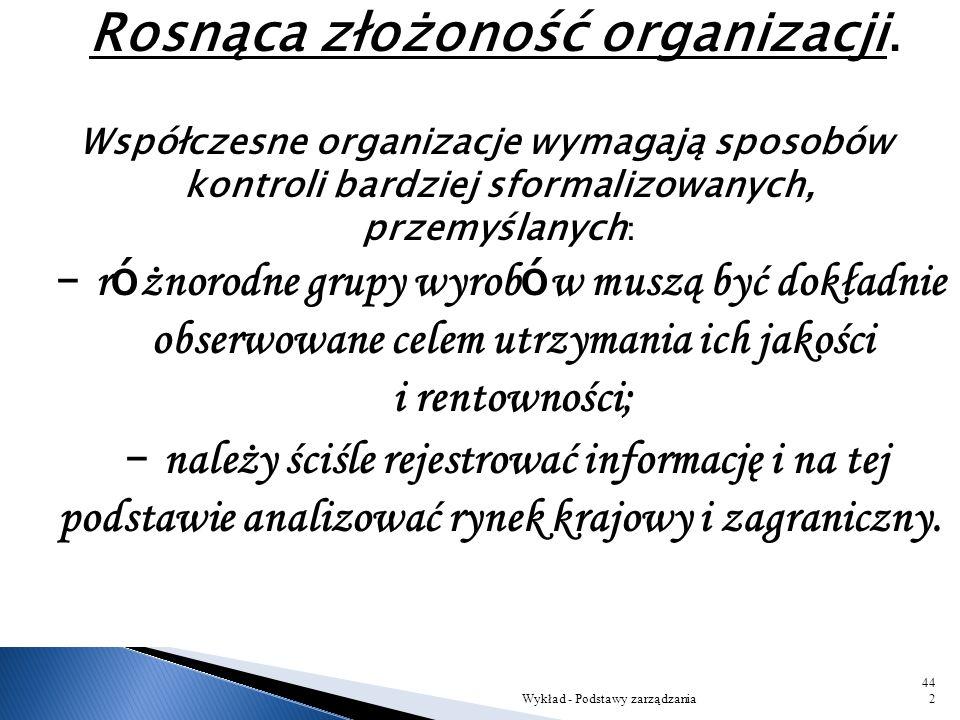 Rosnąca złożoność organizacji.