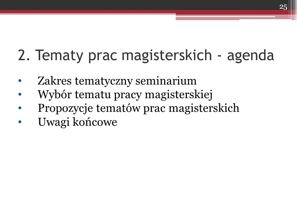 2. Tematy prac magisterskich - agenda