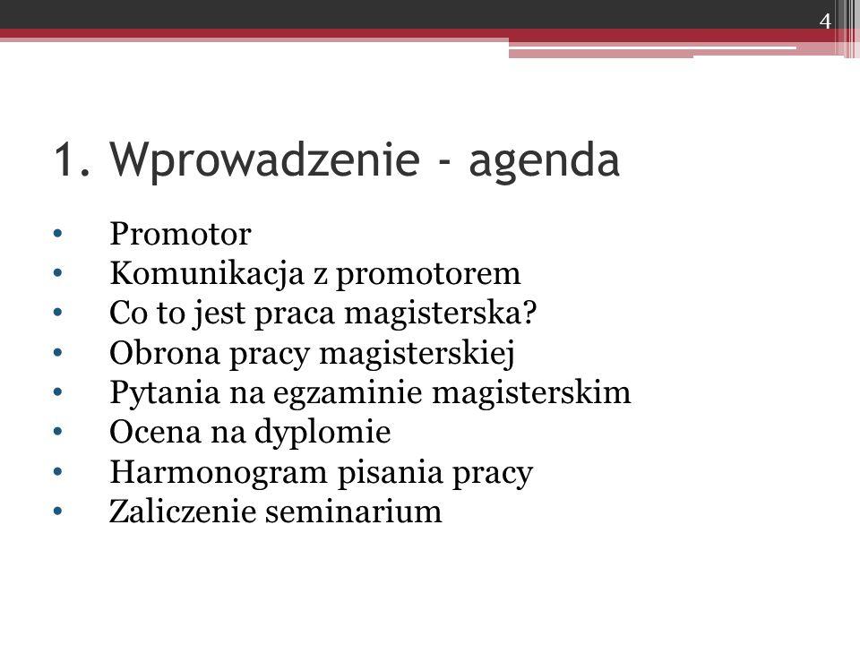 1. Wprowadzenie - agenda Promotor Komunikacja z promotorem