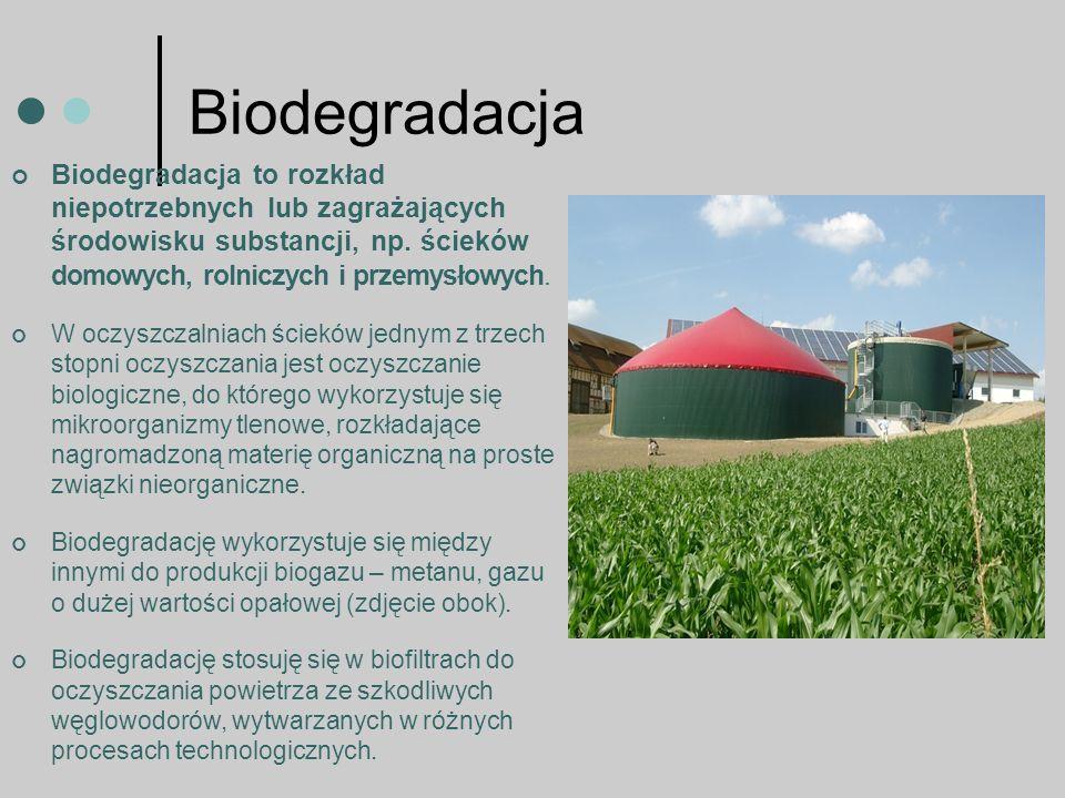 Biodegradacja Biodegradacja to rozkład niepotrzebnych lub zagrażających środowisku substancji, np. ścieków domowych, rolniczych i przemysłowych.
