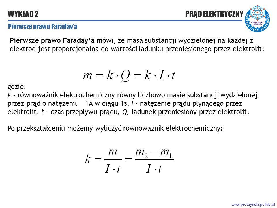 Po przekształceniu możemy wyliczyć równoważnik elektrochemiczny: