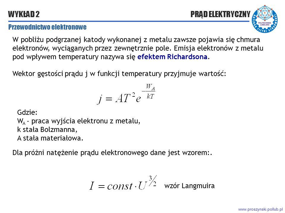 Wektor gęstości prądu j w funkcji temperatury przyjmuje wartość: