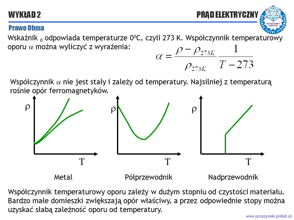 Prawo Ohma Wskaźnik 0 odpowiada temperaturze 00C, czyli 273 K. Współczynnik temperaturowy oporu  można wyliczyć z wyrażenia: