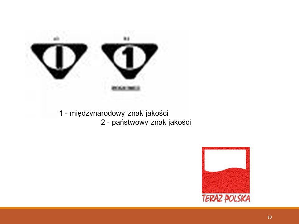 1 - międzynarodowy znak jakości 2 - państwowy znak jakości