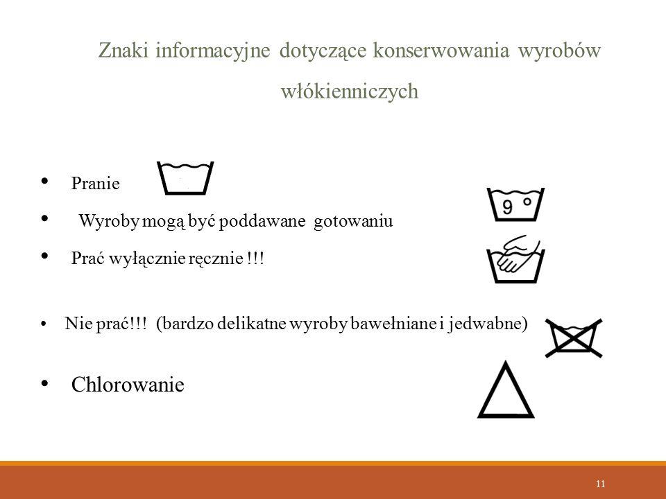 Znaki informacyjne dotyczące konserwowania wyrobów włókienniczych
