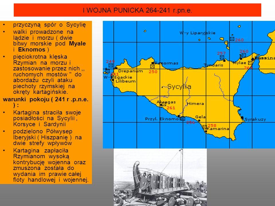 I WOJNA PUNICKA 264-241 r.pn.e. przyczyną spór o Sycylię