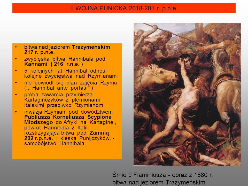 Śmierć Flaminiusza - obraz z 1880 r. bitwa nad jeziorem Trazymeńskim