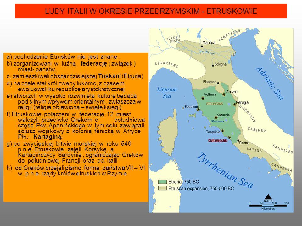 LUDY ITALII W OKRESIE PRZEDRZYMSKIM - ETRUSKOWIE