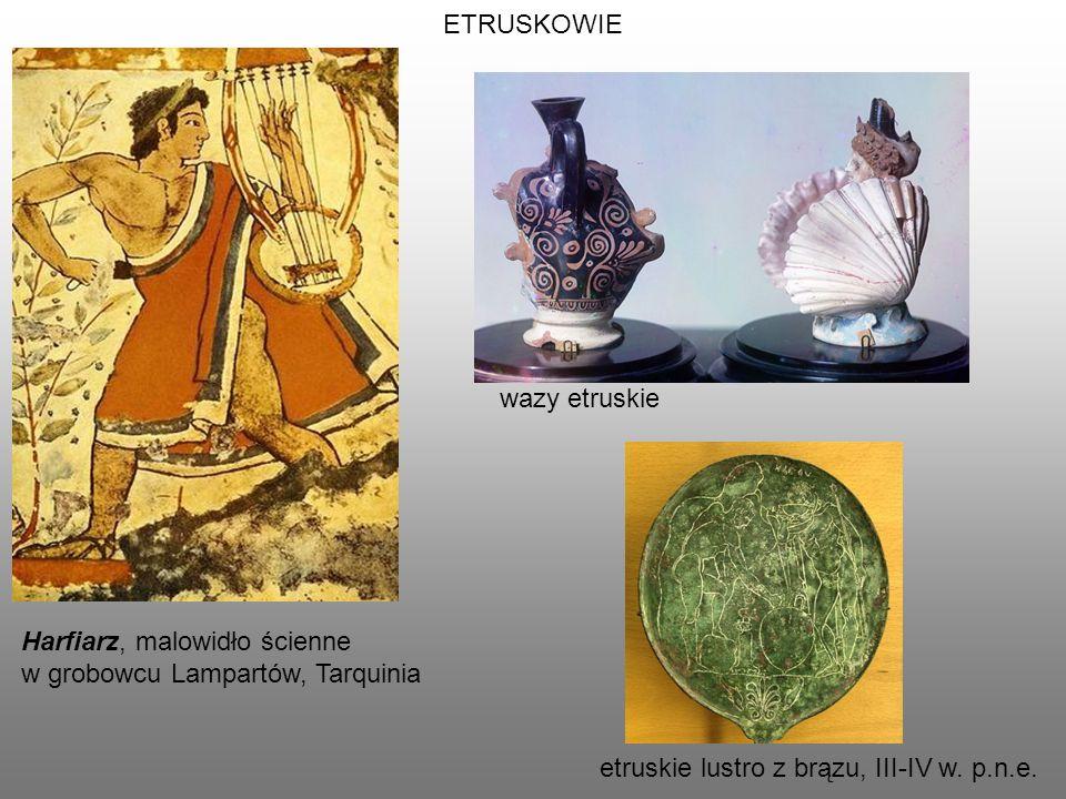 ETRUSKOWIE wazy etruskie. Harfiarz, malowidło ścienne.