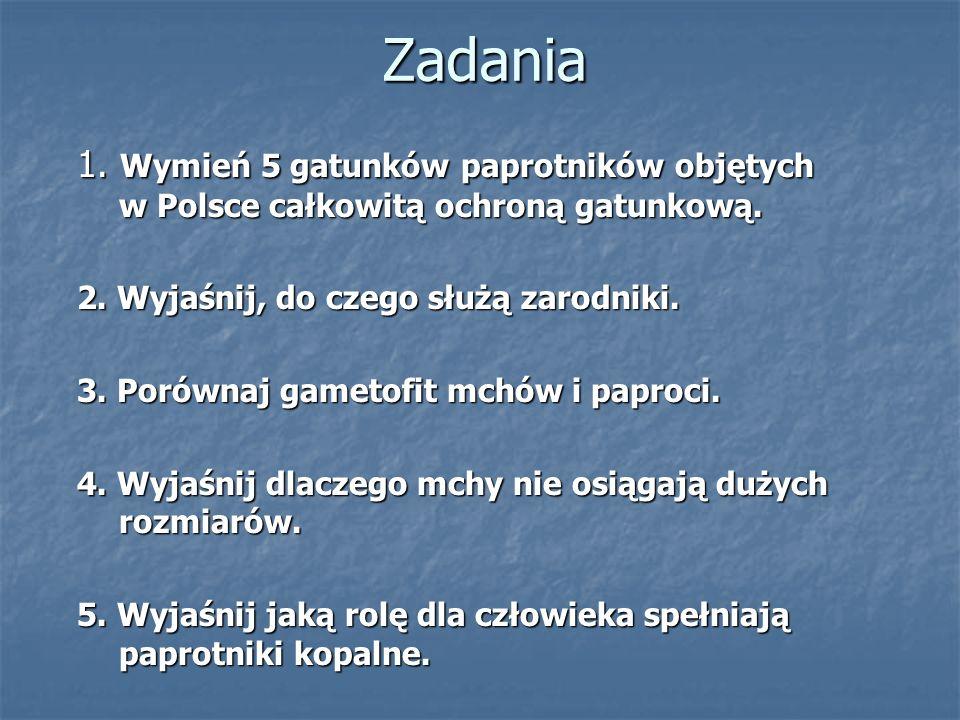 Zadania 1. Wymień 5 gatunków paprotników objętych w Polsce całkowitą ochroną gatunkową. 2. Wyjaśnij, do czego służą zarodniki.