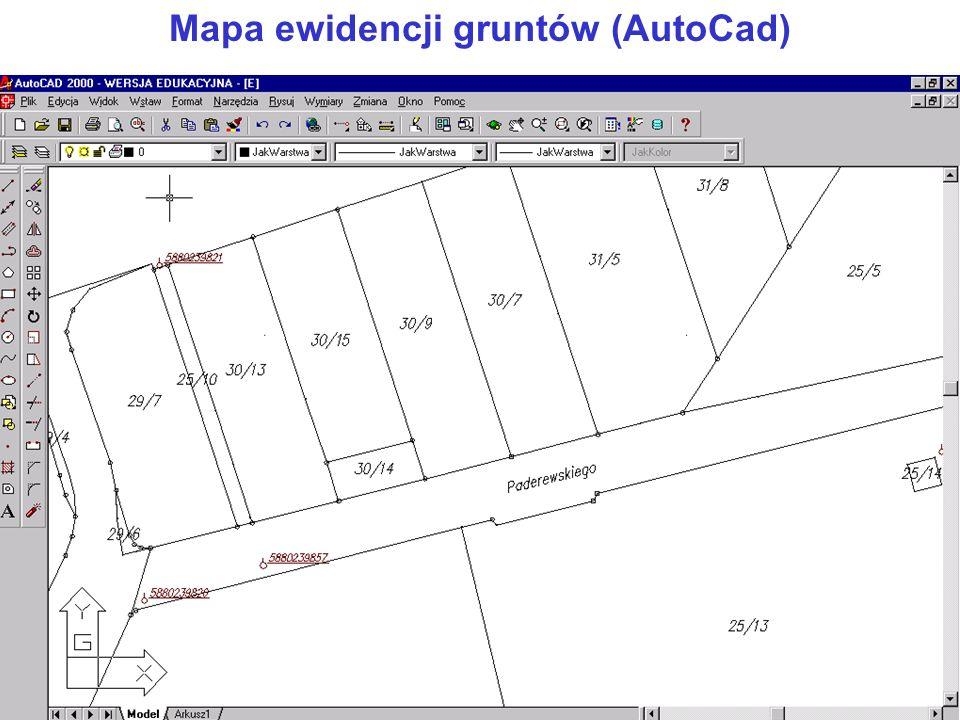 Mapa ewidencji gruntów (AutoCad)