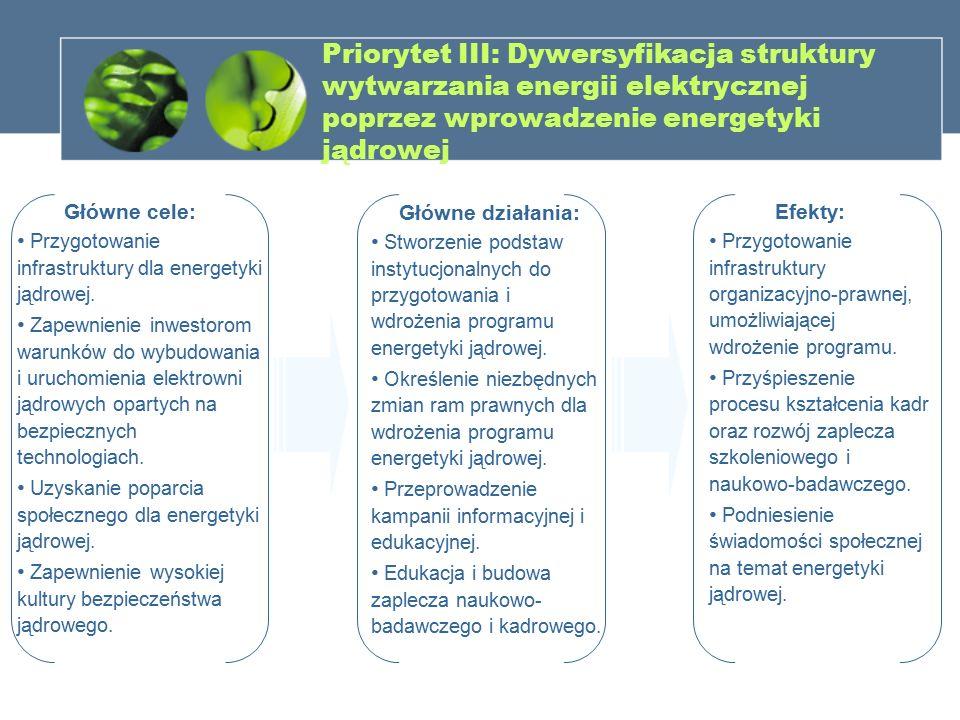 Priorytet III: Dywersyfikacja struktury wytwarzania energii elektrycznej poprzez wprowadzenie energetyki jądrowej