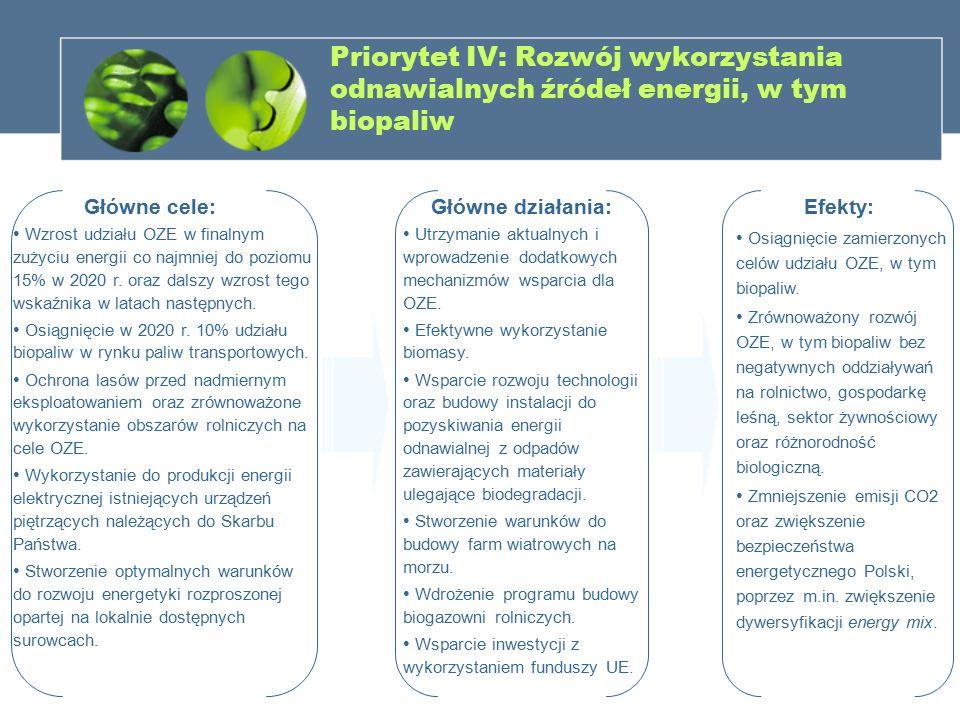 Priorytet IV: Rozwój wykorzystania odnawialnych źródeł energii, w tym biopaliw