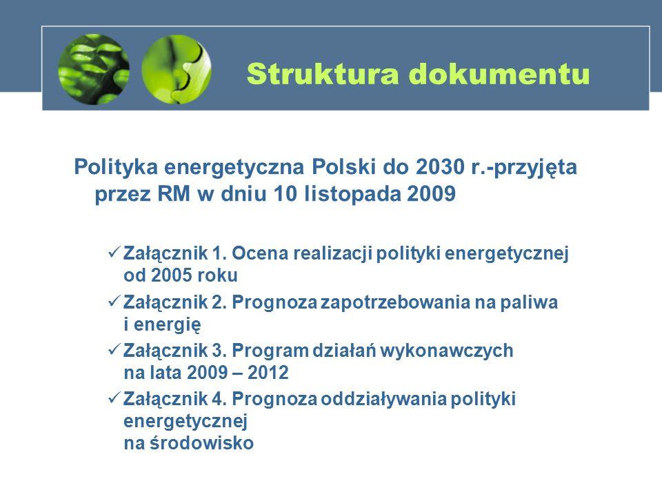 Struktura dokumentu Polityka energetyczna Polski do 2030 r.-przyjęta przez RM w dniu 10 listopada 2009.