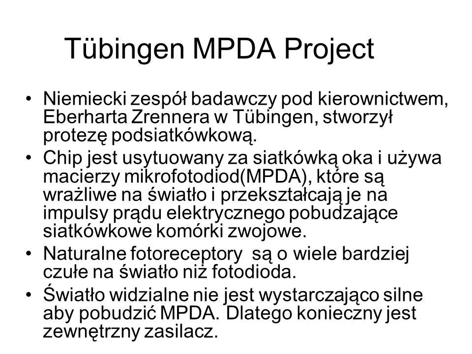 Tübingen MPDA Project Niemiecki zespół badawczy pod kierownictwem, Eberharta Zrennera w Tübingen, stworzył protezę podsiatkówkową.