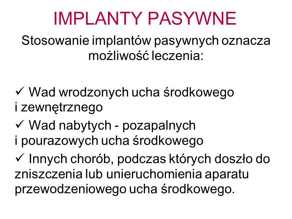 Stosowanie implantów pasywnych oznacza możliwość leczenia: