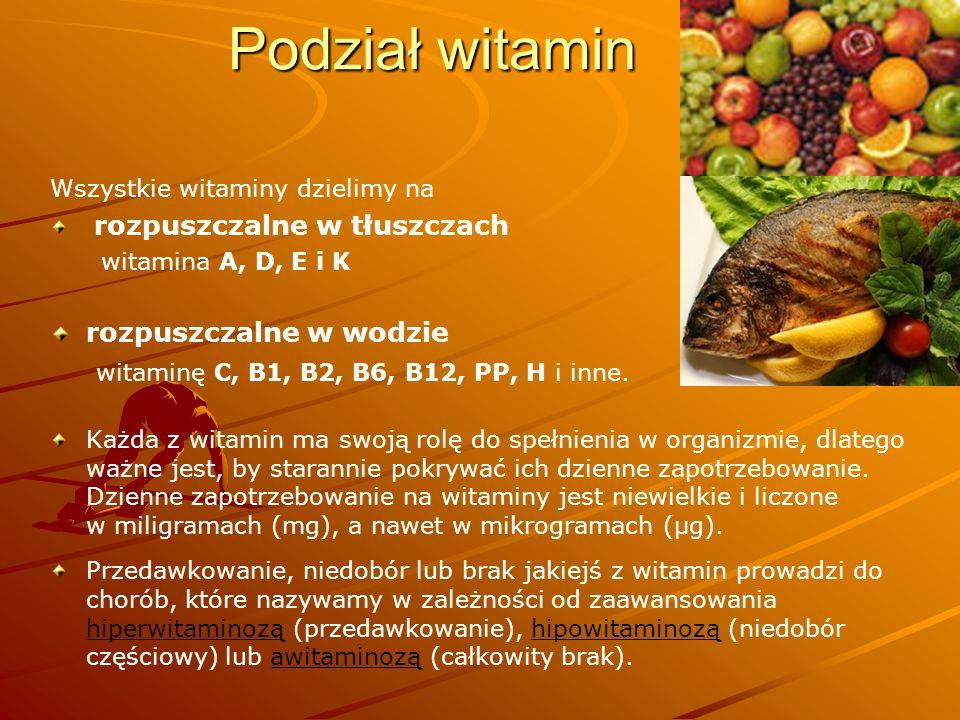 Podział witamin rozpuszczalne w wodzie