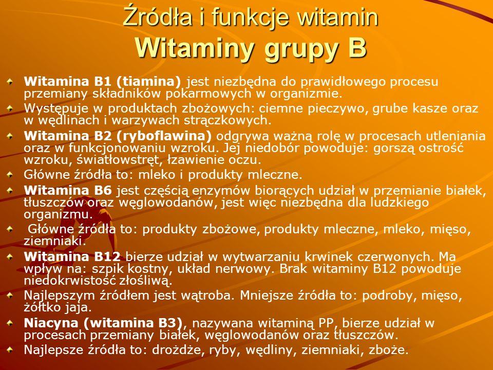Źródła i funkcje witamin Witaminy grupy B