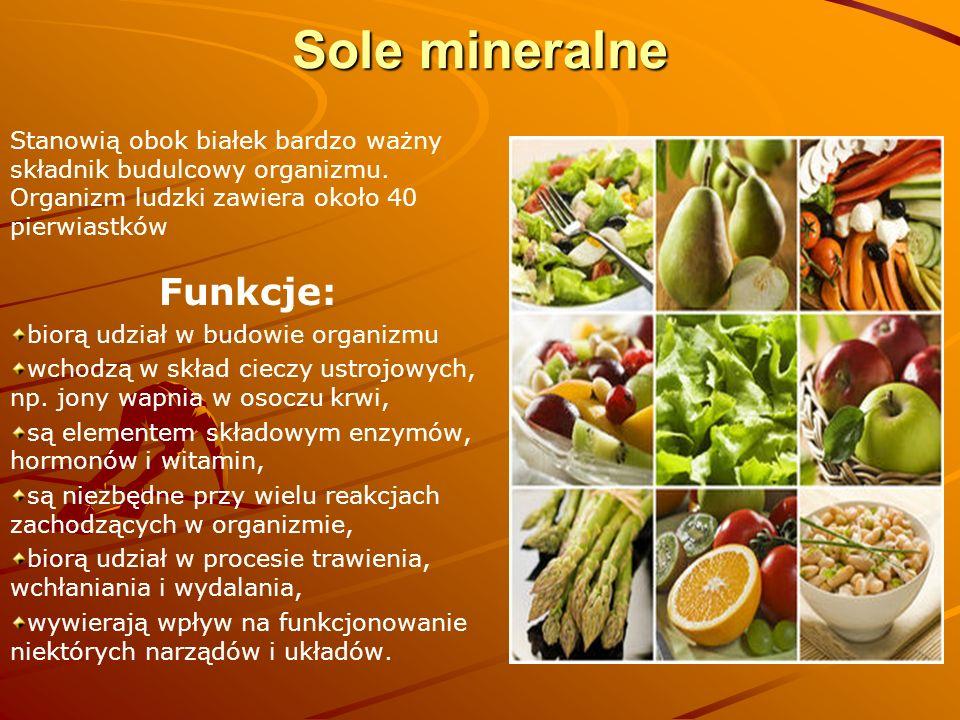 Sole mineralne Funkcje: