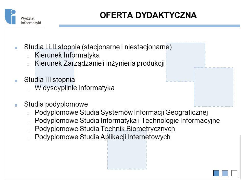 OFERTA DYDAKTYCZNA Studia I i II stopnia (stacjonarne i niestacjonarne) Kierunek Informatyka. Kierunek Zarządzanie i inżynieria produkcji.