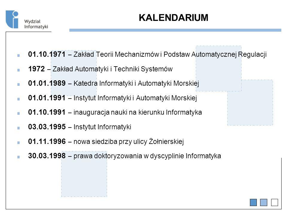 KALENDARIUM 01.10.1971 – Zakład Teorii Mechanizmów i Podstaw Automatycznej Regulacji. 1972 – Zakład Automatyki i Techniki Systemów.