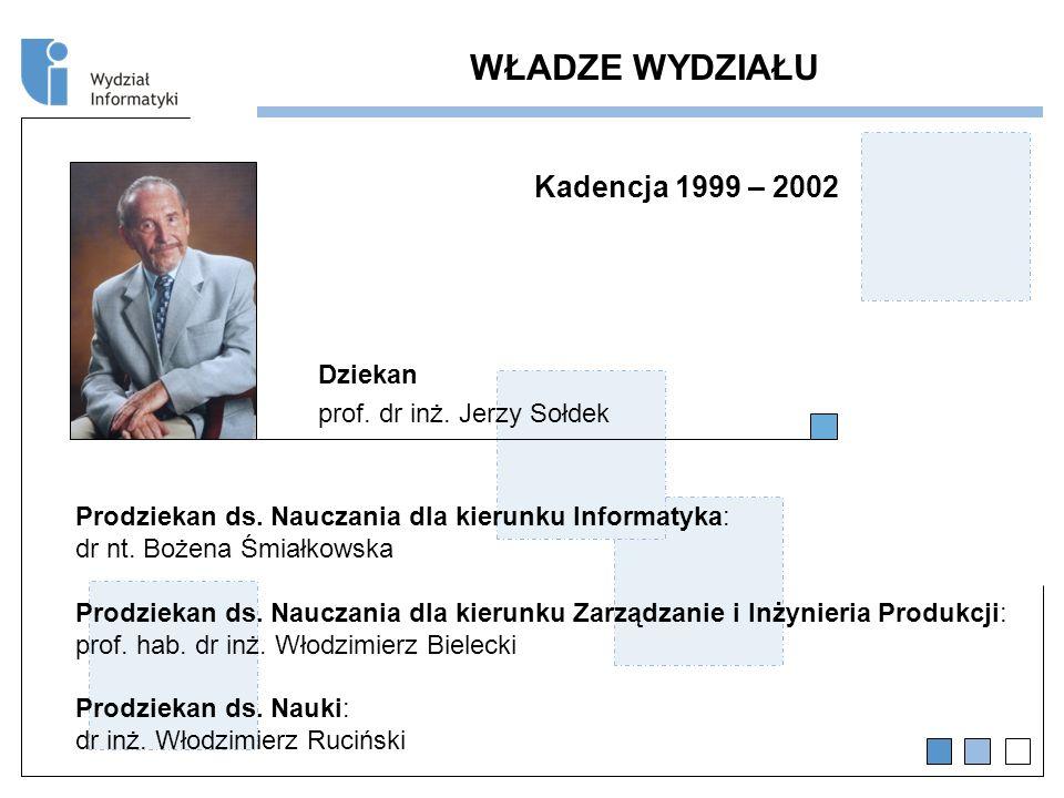 WŁADZE WYDZIAŁU Kadencja 1999 – 2002 Dziekan
