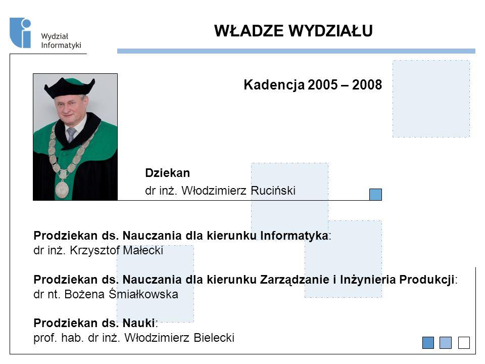 WŁADZE WYDZIAŁU Kadencja 2005 – 2008 Dziekan